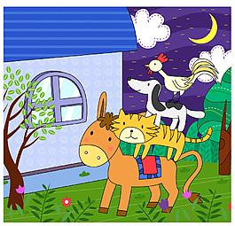 卡通动物农场夜景