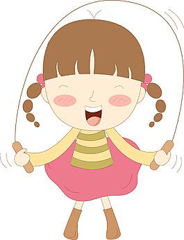 卡通可愛跳繩子的兒童