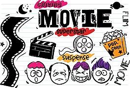 卡通抽象電影元素設計