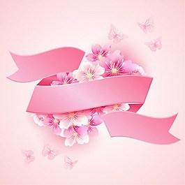 粉色鮮花彩帶背景圖