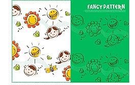 卡通太阳花人物素材图案