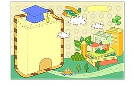 卡通學習教育學士帽