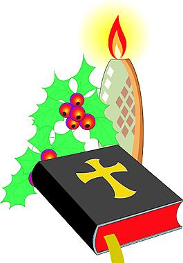 卡通圣誕節蠟燭素材設計