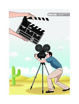 卡通人物拍攝電影素材設計