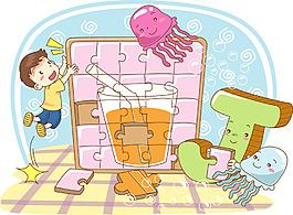 卡通儿童拼图游戏素材