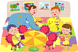 卡通家庭儿童玩耍场景