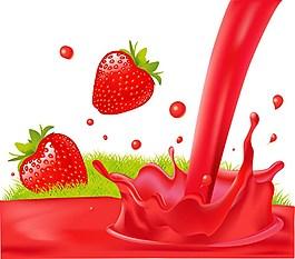 鮮美草莓果汁背景圖