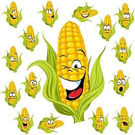 可愛玉米表情包矢量圖