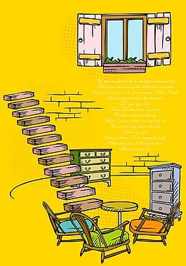 黄色卡通墙壁房子背景装饰