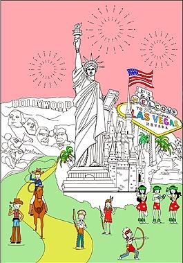 卡通自由女生像美國元素