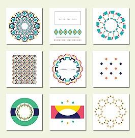 卡通圓形花紋卡片素材背景