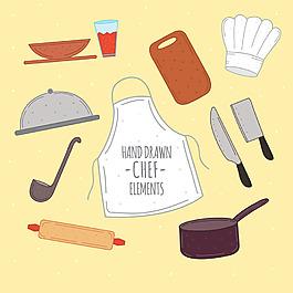 手繪風格各種廚師元素矢量素材