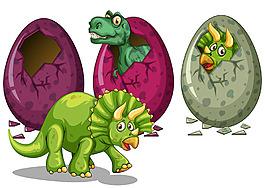 彩色恐龙蛋小恐龙插图矢量素材