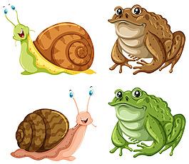青蛙蜗牛癞蛤蟆插图矢量素材
