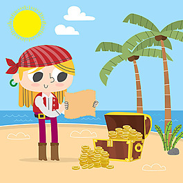 海盗女孩宝物箱海滩背景