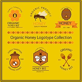 精美有机蜂蜜标志矢量