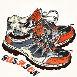 手绘户外运动鞋插画