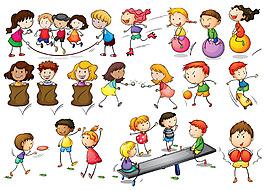 做活动玩游戏的儿童小孩插图