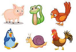 各種可愛動物插圖矢量素材