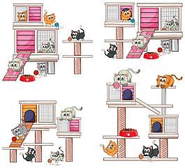 不同设计的小猫屋子矢量素材