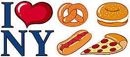 我愛紐約不同的食物標志插圖