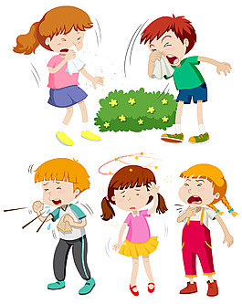發燒咳嗽流鼻涕感冒的兒童插圖