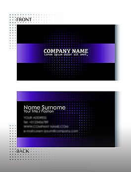 黑色紫色簡約名片模板