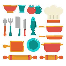 各種彩色廚房用品矢量素材