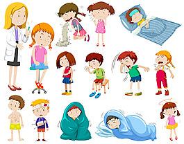 醫生和兒童病人插圖矢量素材