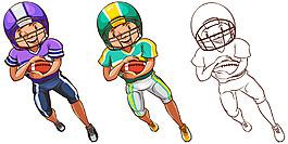 美式足球橄欖球運動員插圖