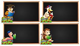 動物讀書插圖展板寫字板模板