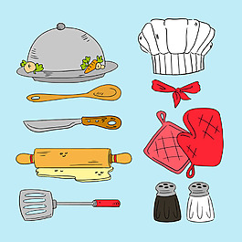 手繪風格各種廚房用品矢量素材