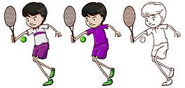 卡通風格打網球的小男孩