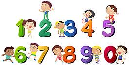 快樂的孩子數字設計插圖