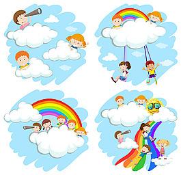 快樂的孩子白云彩虹插圖