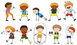 做不同運動的男孩插圖矢量素材