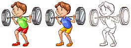 举重的男孩插图矢量素材