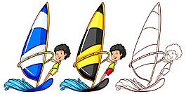 男孩駕駛帆船海上航行插圖