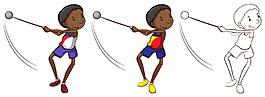 扔鏈球的黑人男孩插圖矢量素材