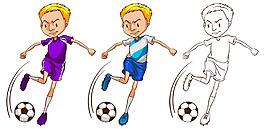 踢足球的小男孩足球運動員插圖