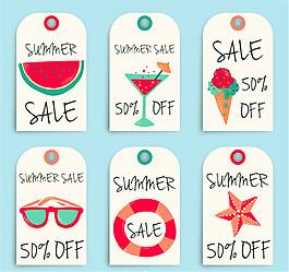 6款彩绘夏季吊牌矢量素材