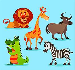 5款卡通非洲動物矢量素材
