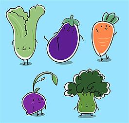 5款可愛卡通蔬菜設計矢量素材