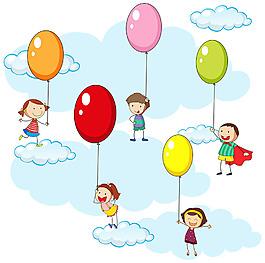 五颜六色的气球小孩儿童天空插图