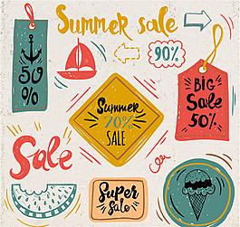 8款手绘风格夏季标签矢量图