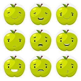 9款綠色蘋果表情矢量素材