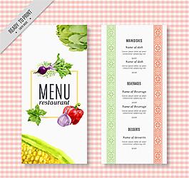 彩繪蔬菜餐館菜單矢量素材