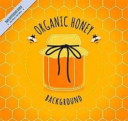 美味罐装有机蜂蜜和蜜蜂矢量素材