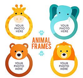 4款卡通動物空白相框矢量素材