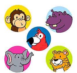5款彩色可愛動物頭像矢量素材